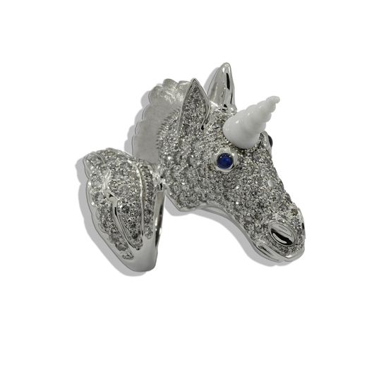 Staurino's Unicorn ring in 18k gold wtih cacholong opal and gray diamonds debuted at Baselworld 2015