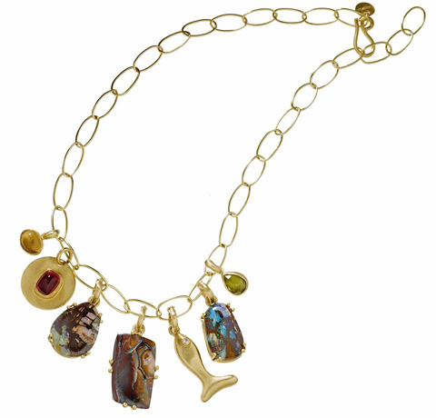 Stephanie Albertson Yowah opal and 22k gold necklace