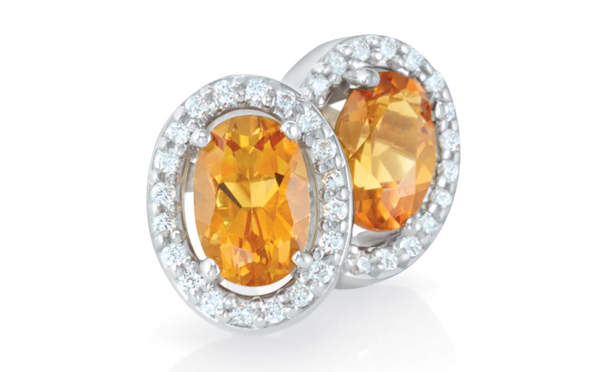 Stuller citrine and diamond halo earrings