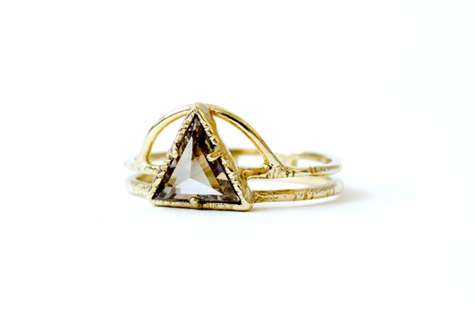 Sun and Power Triangle ring in 14k gold with a brown diamond by Masumi Hayashi