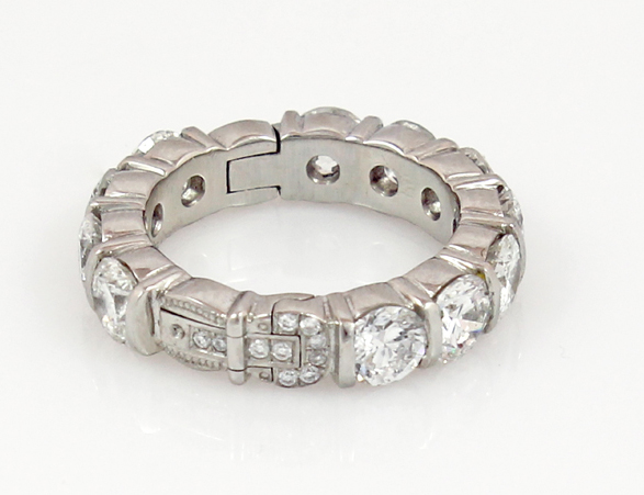 Platinum eternity band wth diamonds and Superfit hinged shank by Superfit