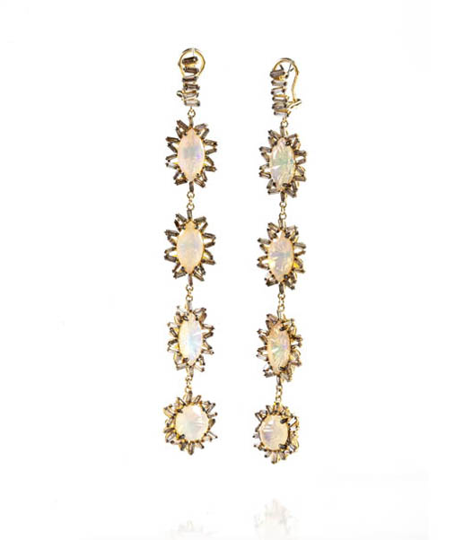 Drop earrings in gold with baguette-cut diamonds and opals by Suzanne Kalan