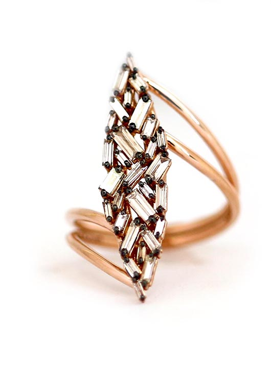 Suzanne Kalan diamond baguette ring in gold