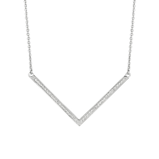Chevron necklace in silver with diamonds from World Trade Jewelers