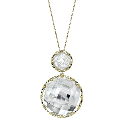 Sylvie Collection pendant necklace in 14k gold with rock crystal quartz and diamonds