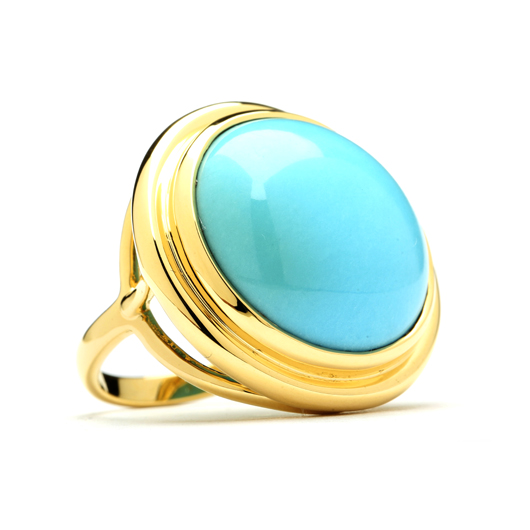 Mogul ring in 18k gold with turquoise from Syna Jewels