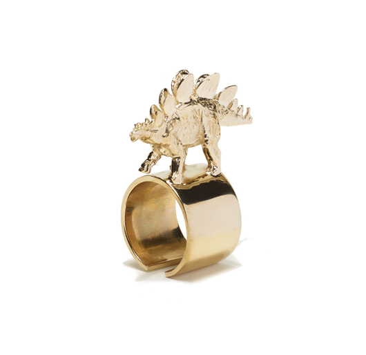 Stegosaurus ring in 14k gold-plated brass by Tiffany Chou