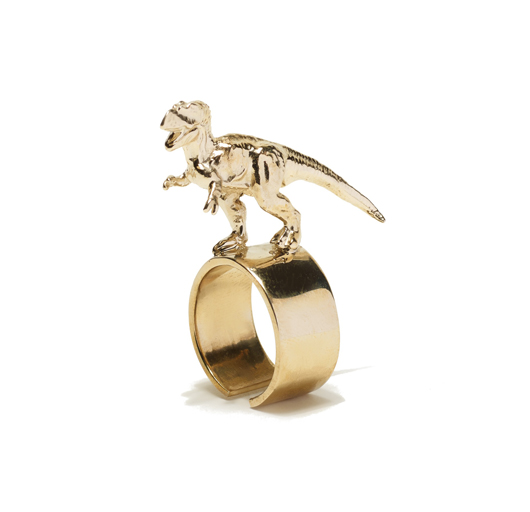 T-Rex ring in 14k gold-plated brass by Tiffany Chou