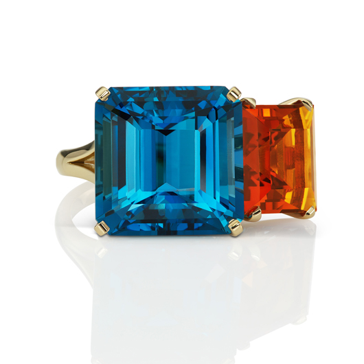 Adagio ring in 18k yellow gold ring with an 18.65 ct. square emerald-cut London blue topaz and a 6.27 ct. step-cut square-shape Madeira citrine, $9,460, by Jane Taylor