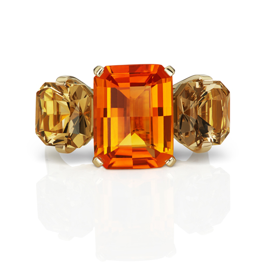 Snake Charmer ring in 18k yellow gold with a 5.11 ct. Mandarin citrine and a 4.11 ct. smoky quartz, $8,570, by Jane Taylor