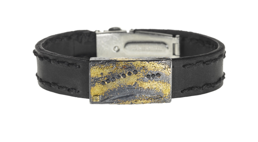 Todd Reed bracelet in leather with silver, 22k gold, and black diamonds