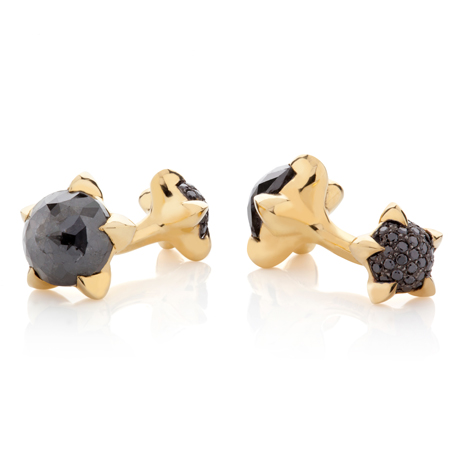 Cufflinks in 18k gold with black diamonds by Tomasz Donocik