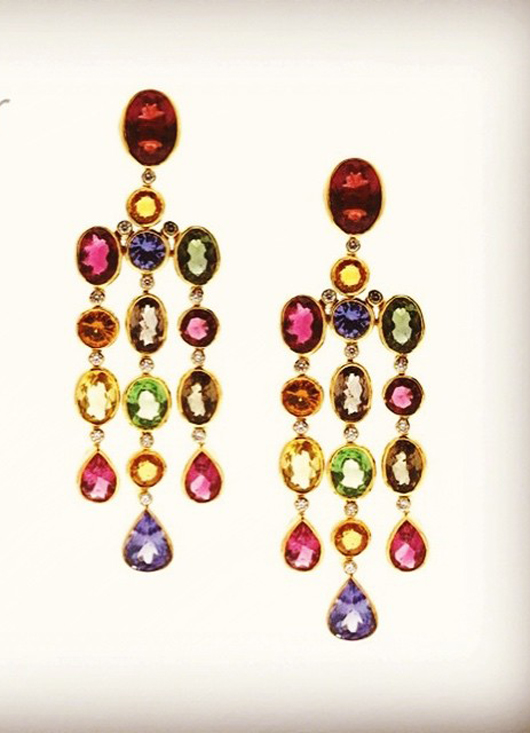 Tresor Collection earrings with multicolor gemstones