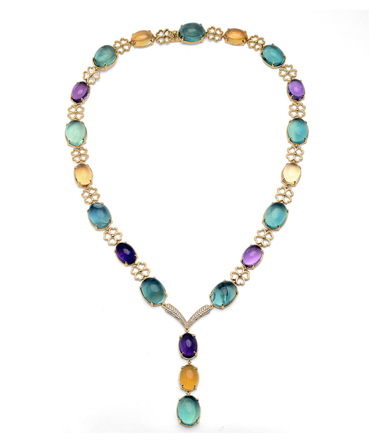 V. Tse Y necklace in 18k gold with amethyst, citrine, and flourite is $19,000 by V. Tse