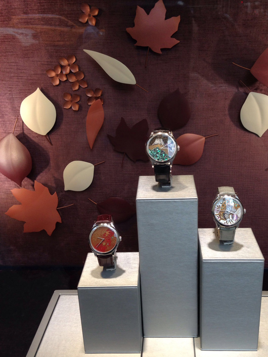 Van Cleef & Arpels window display of watches in Manhattan