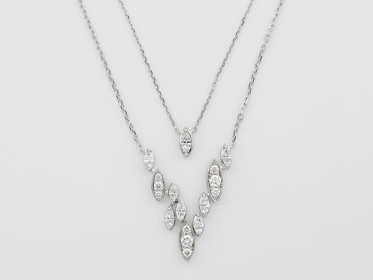 Vines Cascade necklace in 18k white gold with 1.3 cts. t.w. diamonds by Marli