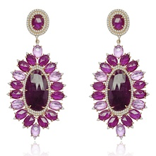 Ruby and sapphire earrings in gold worn by Viola Davis to the 2014 Emmys