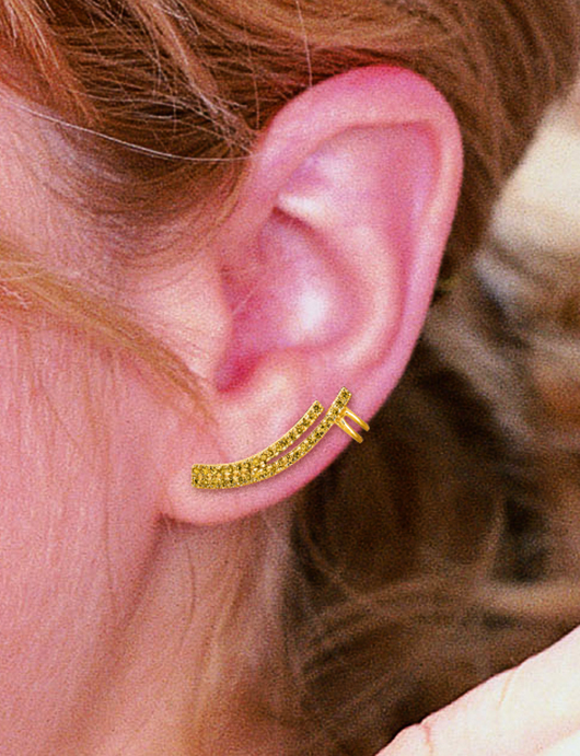 World Trade Jewelers silver and yellow diamond ear climber