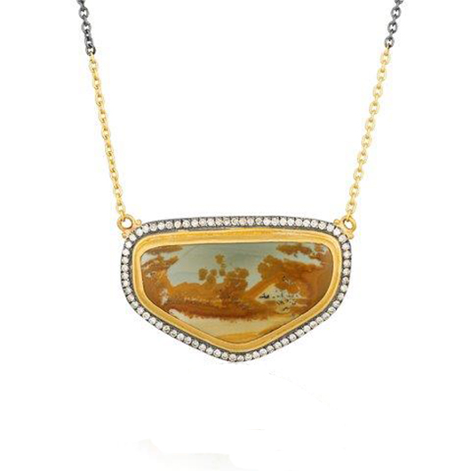 Jasper necklace in gold and silver from Lika Behar
