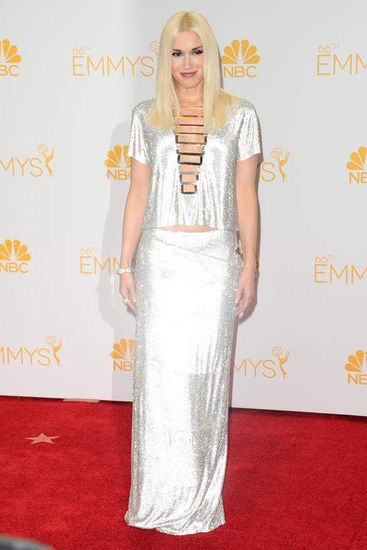 Gwen Stefani in platinum and diamond jewelry by Neil Lane at the 2014 Emmys