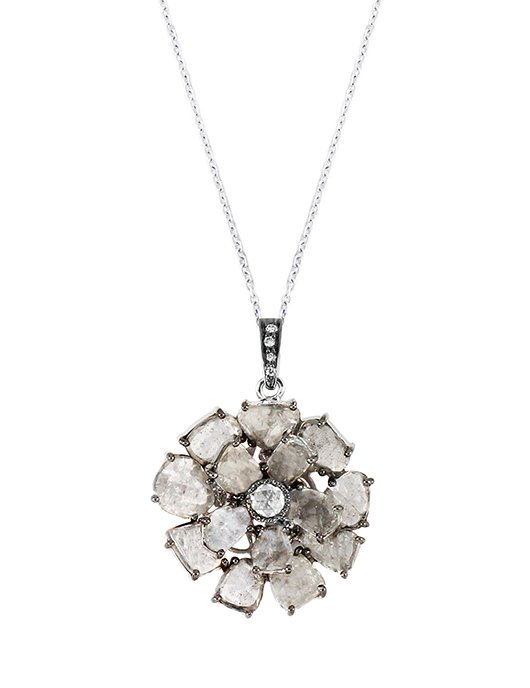 Floral Slice pendant necklace in diamonds and 18k gold by Vivaan