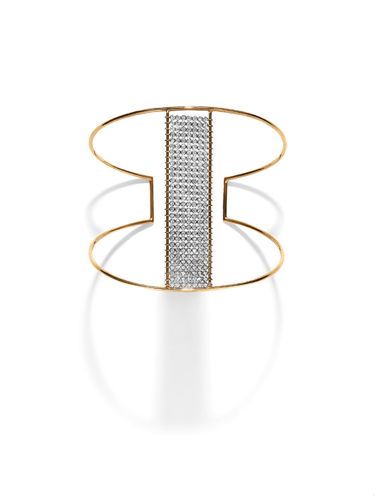 Cuff in 18k gold with diamonds by Yannis Sergakis at Rainbowwave
