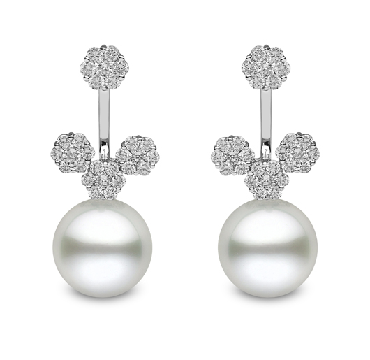 Earrings and jackets in 18k gold with diamonds and white South Sea pearls by Yoko London