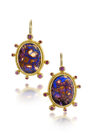 Zaffiro opalized wood earrings in 22k gold with pink sapphires