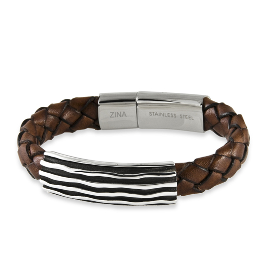 Men's Wave bracelet in leather with silver and a stainless steel clasp by Zina
