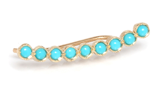 Ear climber in 14k gold with turquoise by Zoe Chicco