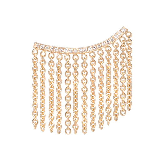 Fringed ear shield in 14k gold with diamonds by Zoe Chicco