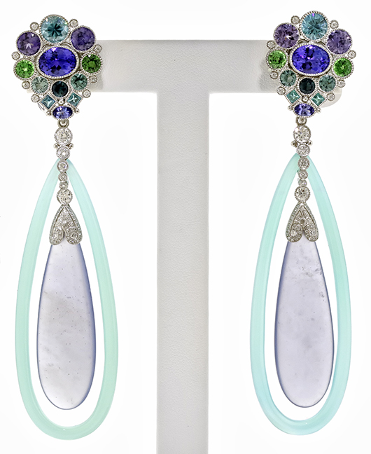 Anemone earrings by Deirdre Featherstone took Best Use of Platinum and Color in the 2014 AGTA Spectrum Awards