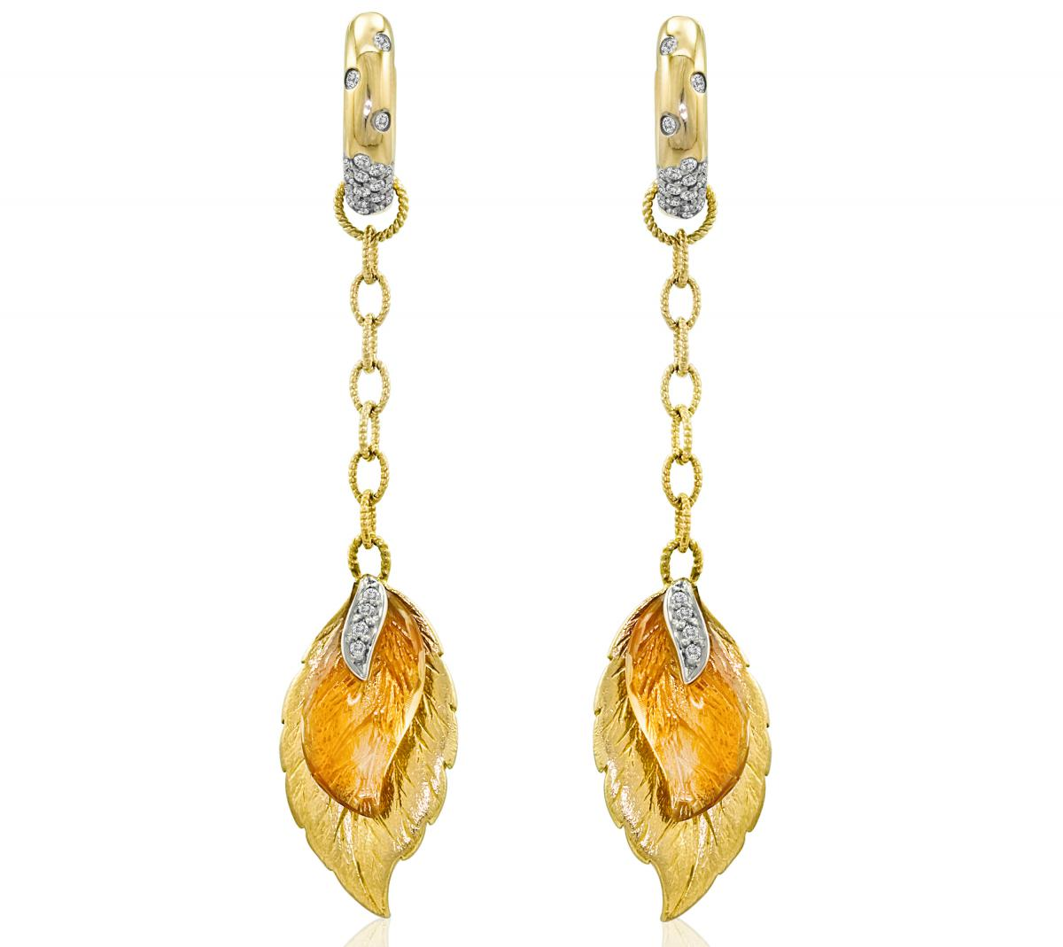 Le Vian Citrine leaf drop earrings