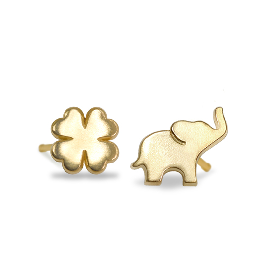 Alex Woo Clover and Elephant studs in 14k gold from her new Mini Additions Mix and Match Stud collection