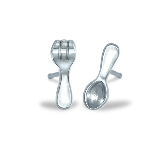 Alex Woo Fork and Spoon earrings in silver from her new Mini Additions Mix and Match Stud collection