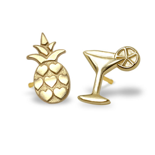 Alex Woo Pineapple and Cocktail studs in 14k gold from her new Mini Additions Mix and Match Stud collection