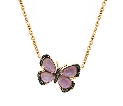 Butterfly necklace in gold with diamonds by Christina Debs