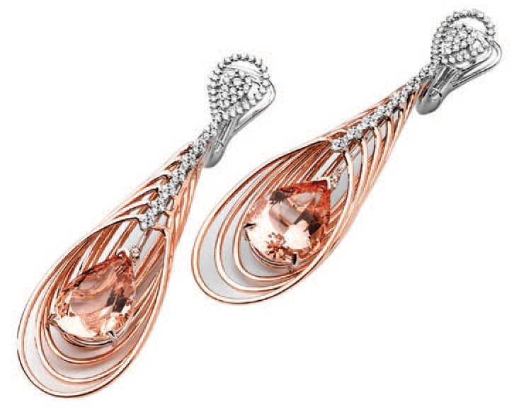 Arzy Company morganite feather drop earrings