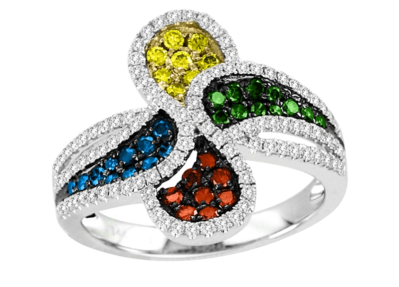 Asher Jewelry Rainbow Diamond bypass ring