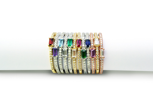 Bar rings in 14k gold with baguette-cut gemstones and diamond pave from Jackie Cohen for Timeless Designs