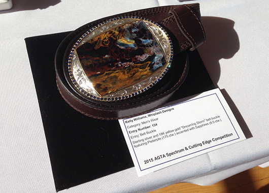 Oncoming Storm belt buckle in silver and 18k gold with Pietersite and sapphires by Whiplash Design