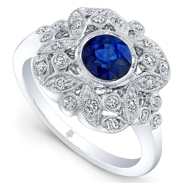 Beverley K vintage-style sapphire and diamond ring