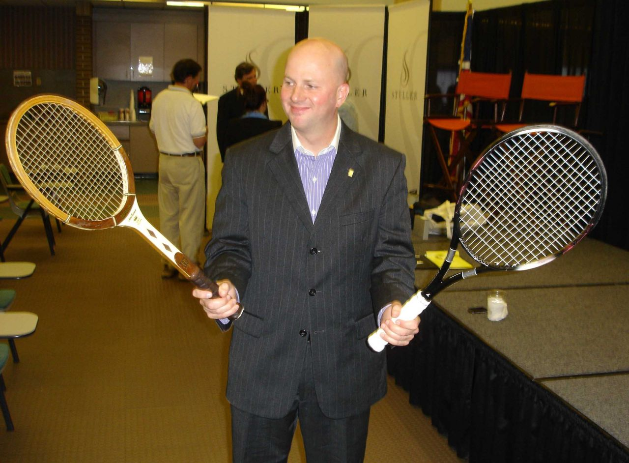 Kerry Hand with tennis racquets