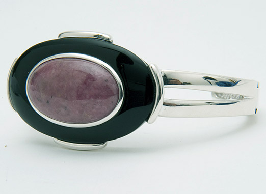 Sterling onyx and rhodonite hinged cuff bracelet QVC/Smithsonian
