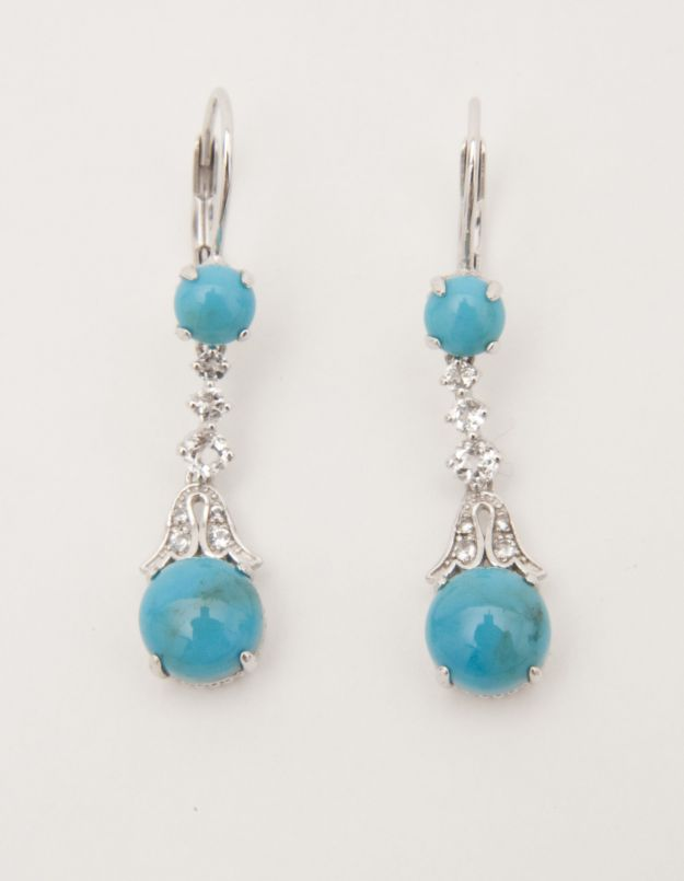 turquoise and white topaz earrings QVC/Smithsonian