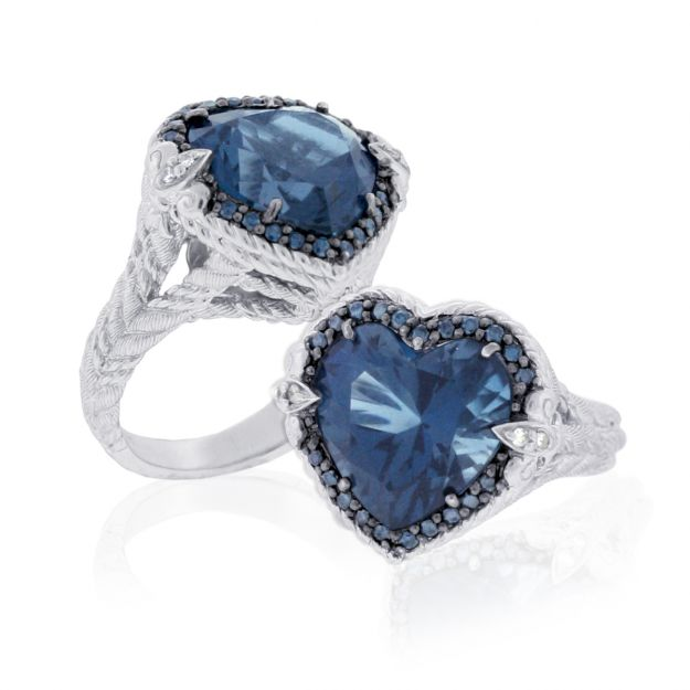 Judith Ripka blue topaze Smithsonian ring for QVC