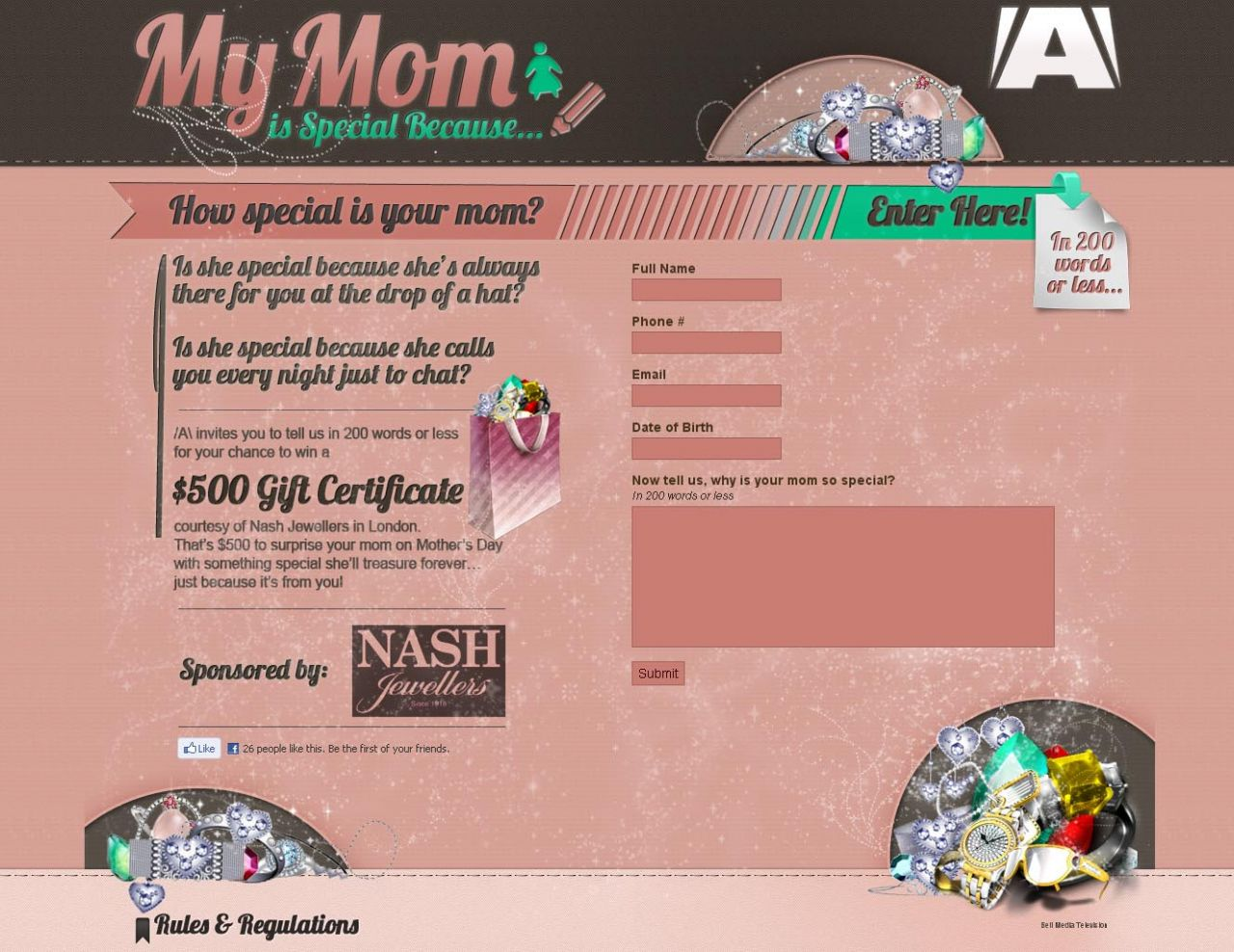 The online form for entering Nash Jewellers Mother's Day essay contest