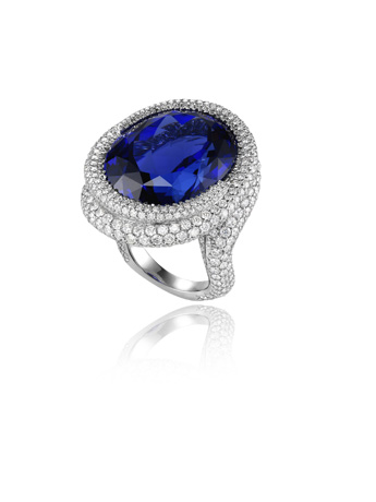 Chopard tanzanite and diamond ring from 2011 Red Carpet Collection