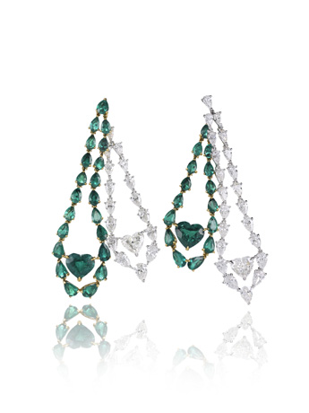 Chopard emerald and diamond earrings from its 2011 Red Carpet Collection