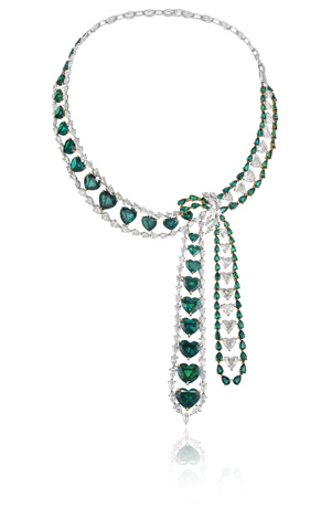 Chopard heart-shaped emerald and diamond necklace from its 2011 Red Carpet Collection